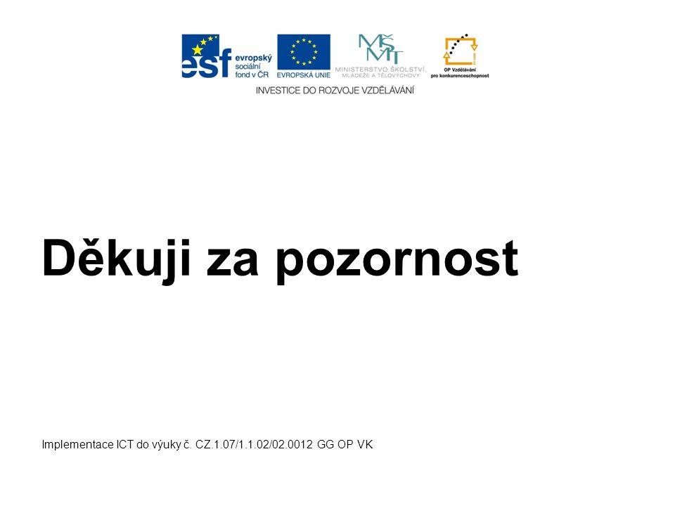 Implementace ICT do výuky č. CZ.1.07/1.1.02/02.0012 GG OP VK Děkuji za pozornost
