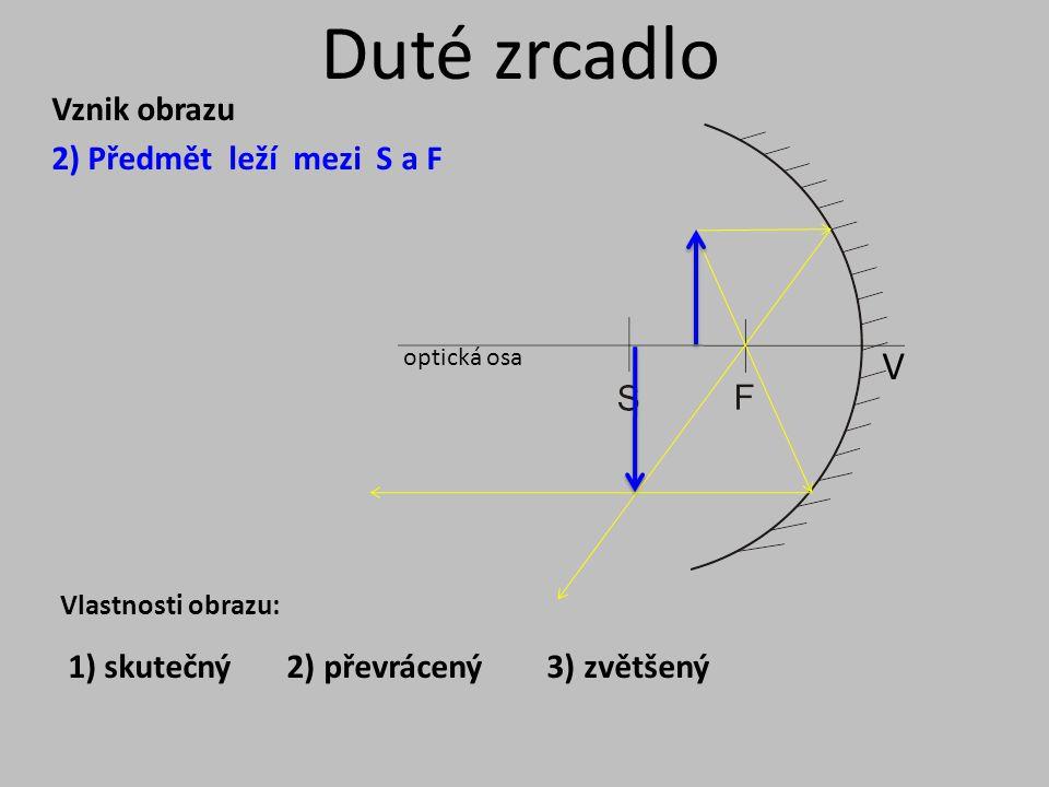 Duté zrcadlo optická osa V Vznik obrazu 3) Předmět leží mezi F a V Vlastnosti obrazu: 1) zdánlivý 2) vzpřímený 3) zvětšený
