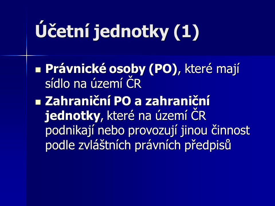 Účetní jednotky (1) Právnické osoby (PO), které mají sídlo na území ČR Právnické osoby (PO), které mají sídlo na území ČR Zahraniční PO a zahraniční j