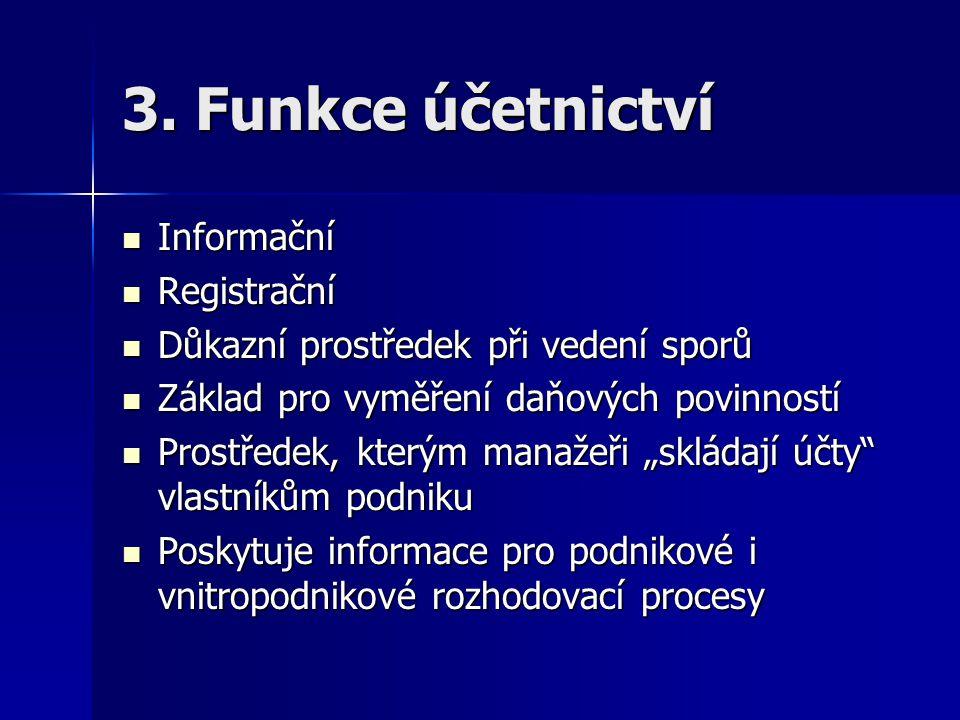 3. Funkce účetnictví Informační Informační Registrační Registrační Důkazní prostředek při vedení sporů Důkazní prostředek při vedení sporů Základ pro