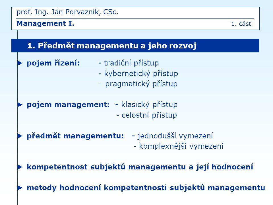 ► pojem řízení:- tradiční přístup - kybernetický přístup - pragmatický přístup ► pojem management: - klasický přístup - celostní přístup ► předmět man