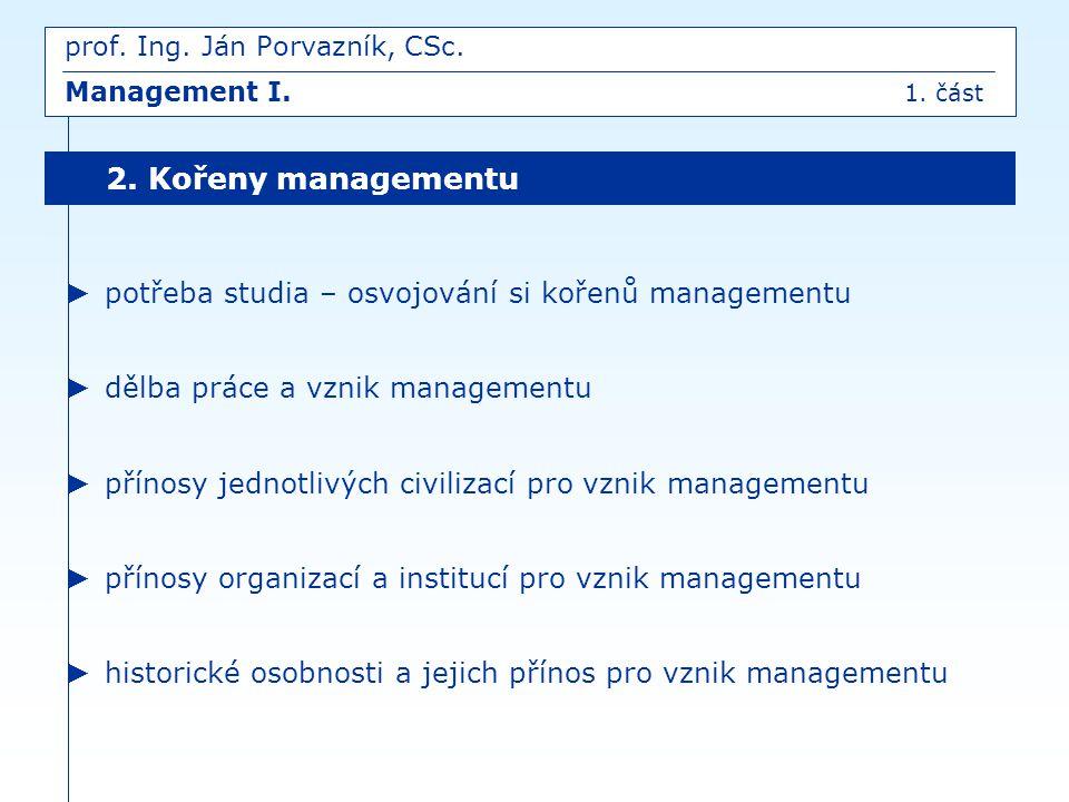 ► potřeba studia – osvojování si kořenů managementu ► dělba práce a vznik managementu ► přínosy jednotlivých civilizací pro vznik managementu ► přínos