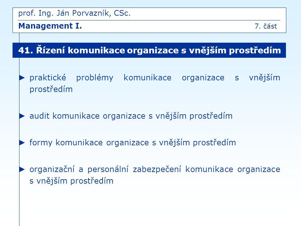 ► praktické problémy komunikace organizace s vnějším prostředím ► audit komunikace organizace s vnějším prostředím ► formy komunikace organizace s vně