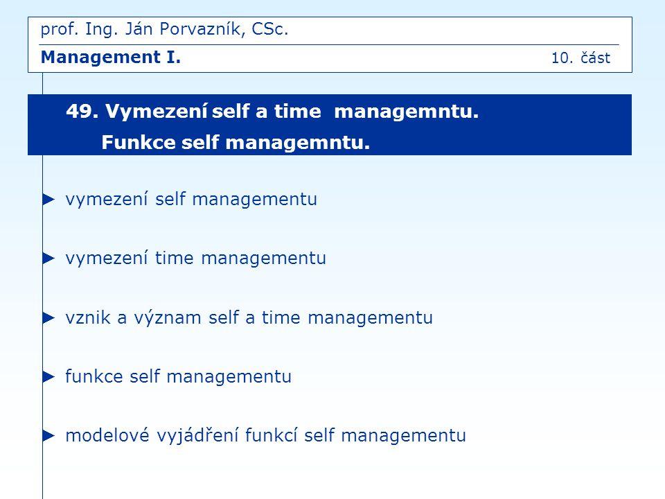 ► vymezení self managementu ► vymezení time managementu ► vznik a význam self a time managementu ► funkce self managementu ► modelové vyjádření funkcí