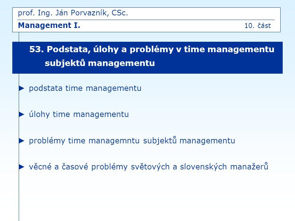 ► podstata time managementu ► úlohy time managementu ► problémy time managemntu subjektů managementu ► věcné a časové problémy světových a slovenských
