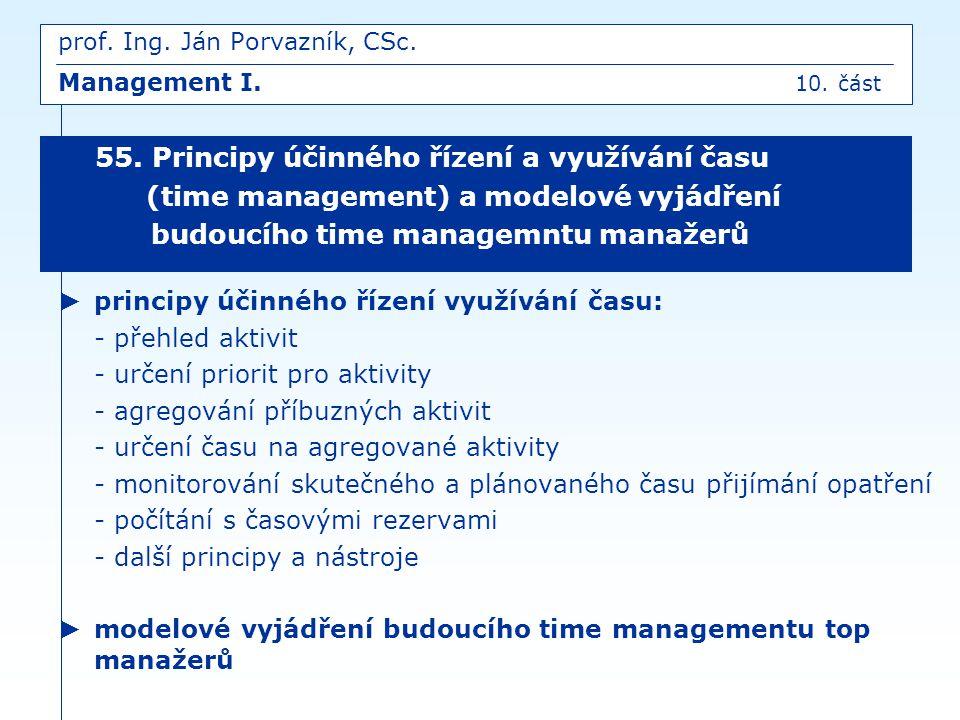 ► principy účinného řízení využívání času: - přehled aktivit - určení priorit pro aktivity - agregování příbuzných aktivit - určení času na agregované