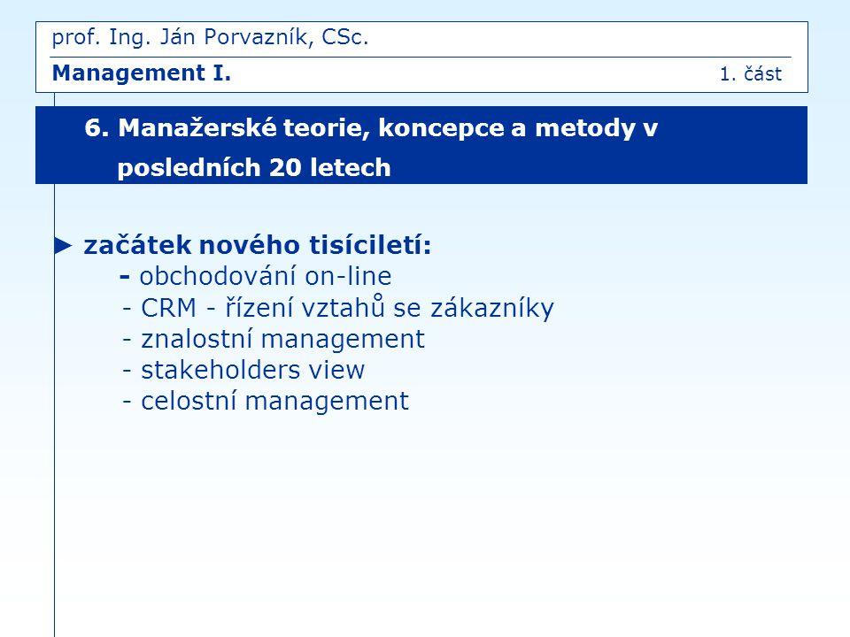 IV.MANAGEMENT JAKO UMĚNÍ poznatky o požadavcích na praktickou zručnost subjektů managementu prof.