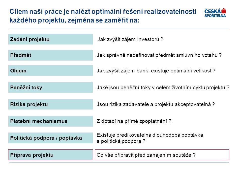 Objem Peněžní toky Rizika projektu Platební mechanismus Politická podpora / poptávka Jak zvýšit zájem bank, existuje optimální velikost ? Jaké jsou pe