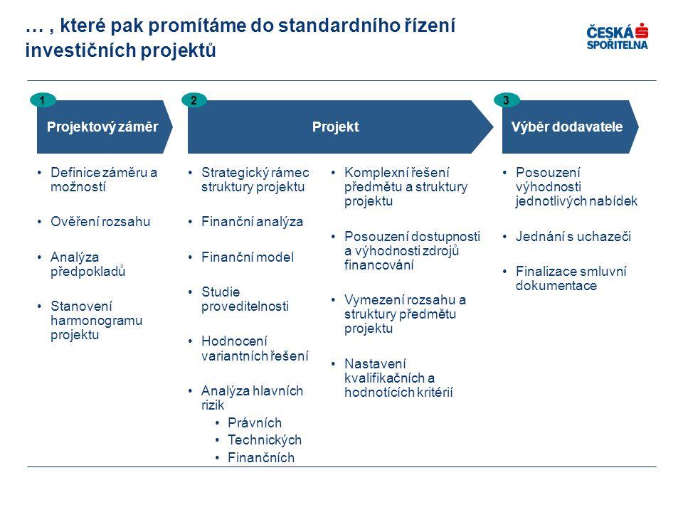 …, které pak promítáme do standardního řízení investičních projektů Projektový záměr 1 Projekt 2 Strategický rámec struktury projektu Finanční analýza