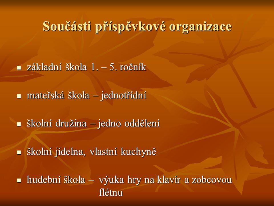 Součásti příspěvkové organizace základní škola 1.– 5.