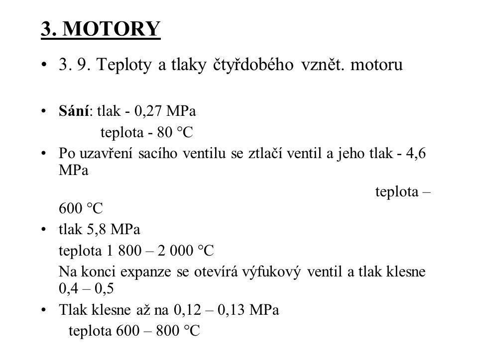 3.MOTORY 3. 9. Teploty a tlaky čtyřdobého vznět.