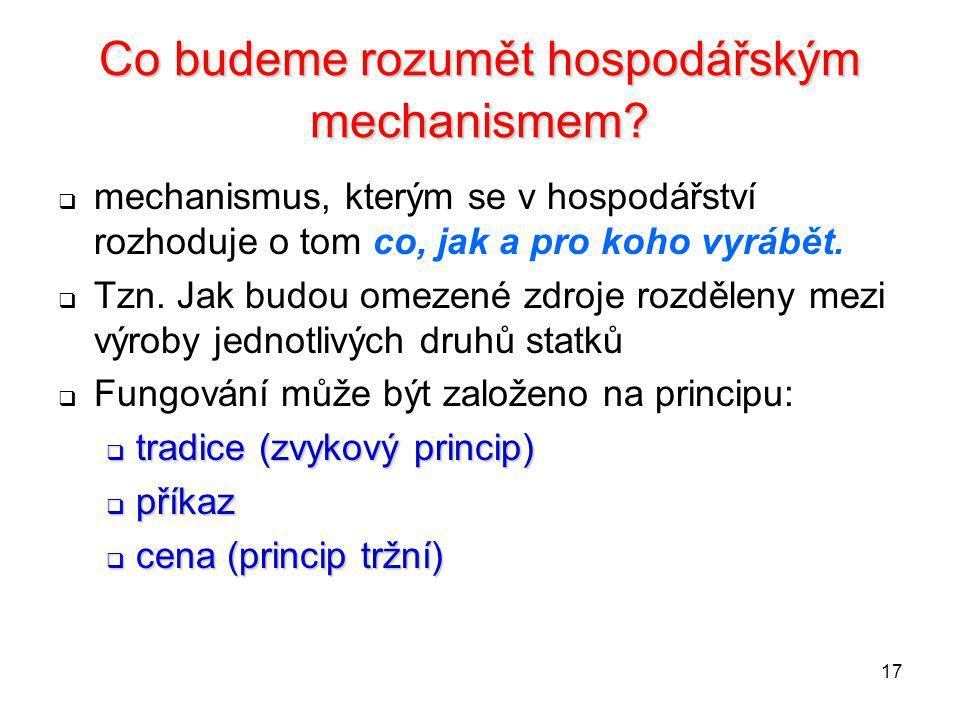 17 Co budeme rozumět hospodářským mechanismem?  mechanismus, kterým se v hospodářství rozhoduje o tom co, jak a pro koho vyrábět.  Tzn. Jak budou om