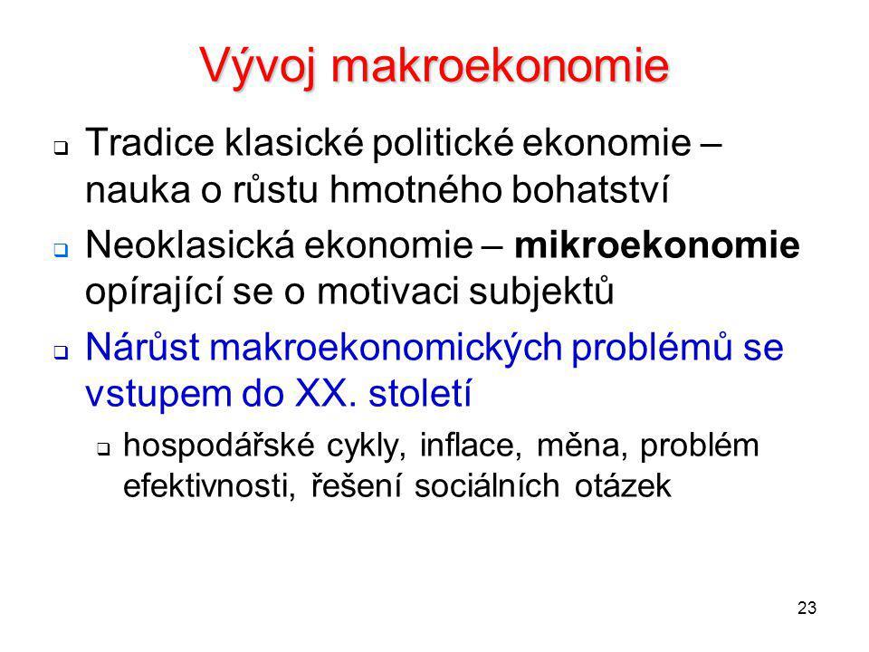 23 Vývoj makroekonomie  Tradice klasické politické ekonomie – nauka o růstu hmotného bohatství  Neoklasická ekonomie – mikroekonomie opírající se o