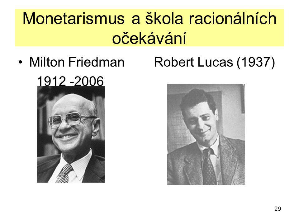 29 Monetarismus a škola racionálních očekávání Milton Friedman Robert Lucas (1937) 1912 -2006