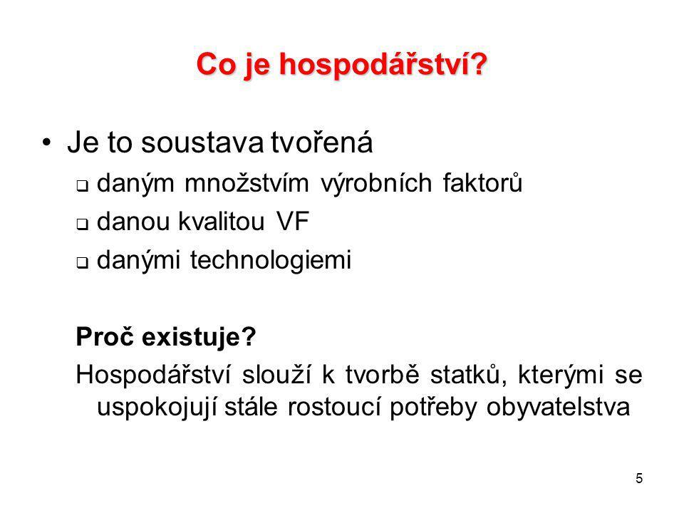 5 Co je hospodářství? Je to soustava tvořená  daným množstvím výrobních faktorů  danou kvalitou VF  danými technologiemi Proč existuje? Hospodářstv