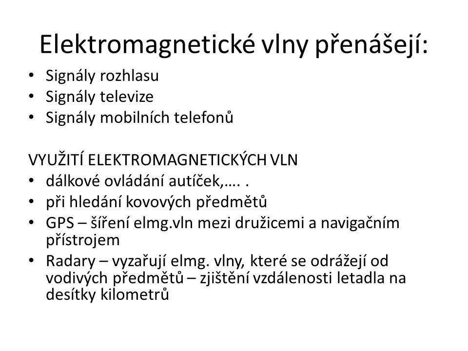 Elektromagnetické vlny přenášejí: Signály rozhlasu Signály televize Signály mobilních telefonů VYUŽITÍ ELEKTROMAGNETICKÝCH VLN dálkové ovládání autíček,…..
