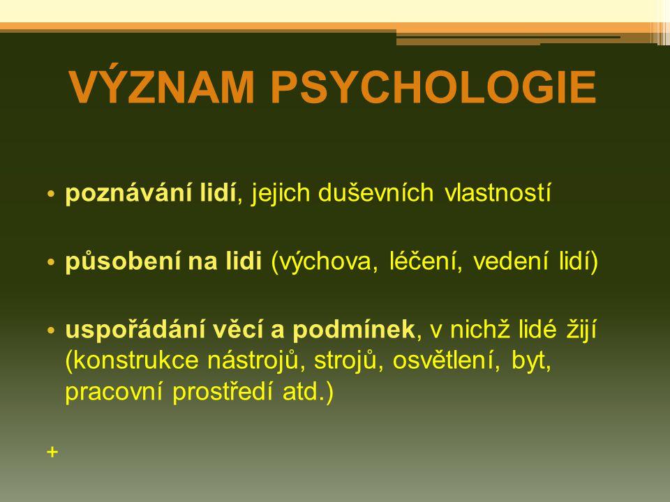 poznávání lidí, jejich duševních vlastností působení na lidi (výchova, léčení, vedení lidí) uspořádání věcí a podmínek, v nichž lidé žijí (konstrukce nástrojů, strojů, osvětlení, byt, pracovní prostředí atd.) + VÝZNAM PSYCHOLOGIE