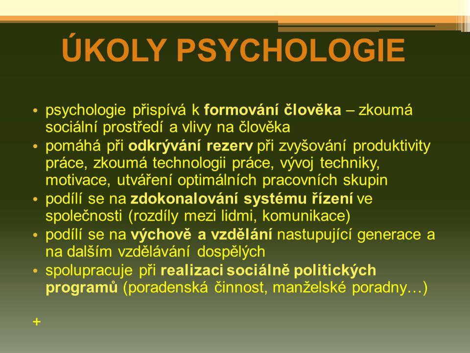 psychologie přispívá k formování člověka – zkoumá sociální prostředí a vlivy na člověka pomáhá při odkrývání rezerv při zvyšování produktivity práce, zkoumá technologii práce, vývoj techniky, motivace, utváření optimálních pracovních skupin podílí se na zdokonalování systému řízení ve společnosti (rozdíly mezi lidmi, komunikace) podílí se na výchově a vzdělání nastupující generace a na dalším vzdělávání dospělých spolupracuje při realizaci sociálně politických programů (poradenská činnost, manželské poradny…) + ÚKOLY PSYCHOLOGIE