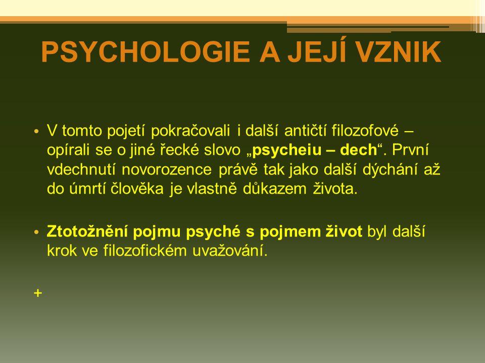 Psychologie osobnosti o zkoumá strukturu a vývoj osobnosti, podobnosti a odlišnosti mezi lidmi o slučuje získané poznatky o člověku jako celku Psychopatologie o zkoumá psychické poruchy, jejich druhy, vznik a vývoj + ZÁKLADNÍ PSYCHOLOGICKÉ DISCIPLÍNY