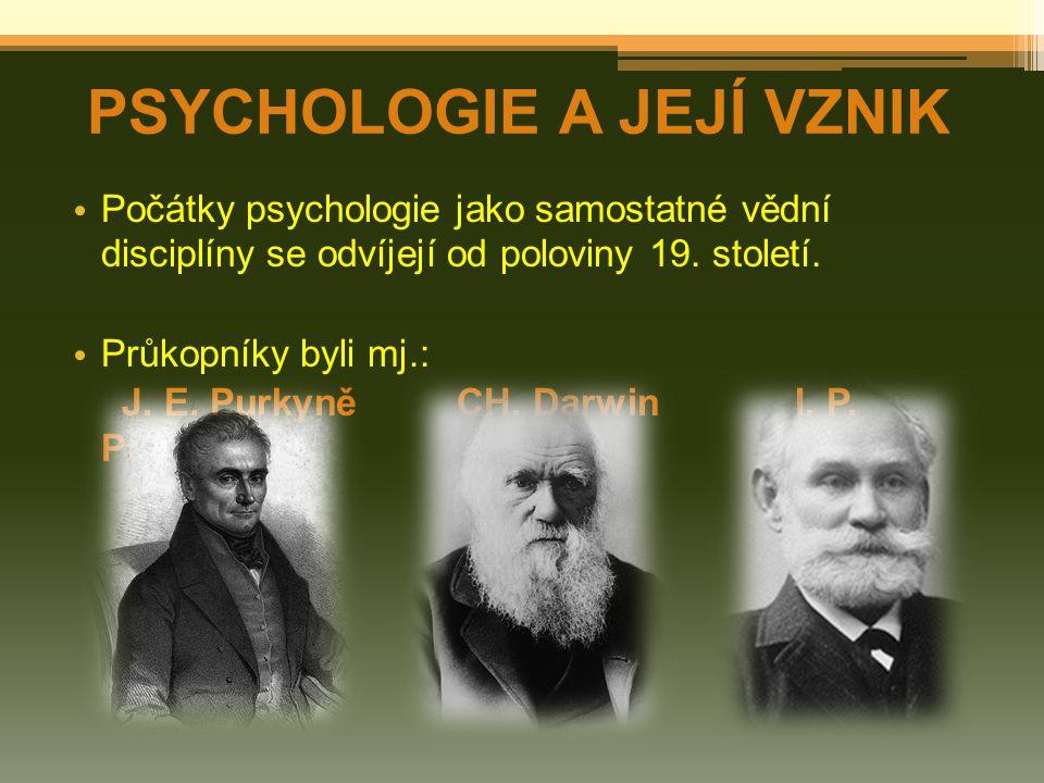 Počátky psychologie jako samostatné vědní disciplíny se odvíjejí od poloviny 19.