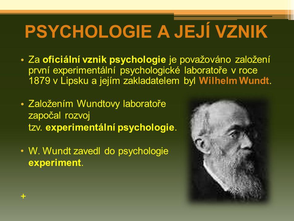 Za oficiální vznik psychologie je považováno založení první experimentální psychologické laboratoře v roce 1879 v Lipsku a jejím zakladatelem byl Wilhelm Wundt.