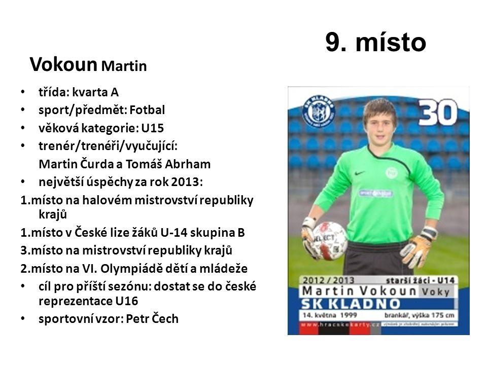 Vokoun Martin třída: kvarta A sport/předmět: Fotbal věková kategorie: U15 trenér/trenéři/vyučující: Martin Čurda a Tomáš Abrham největší úspěchy za ro
