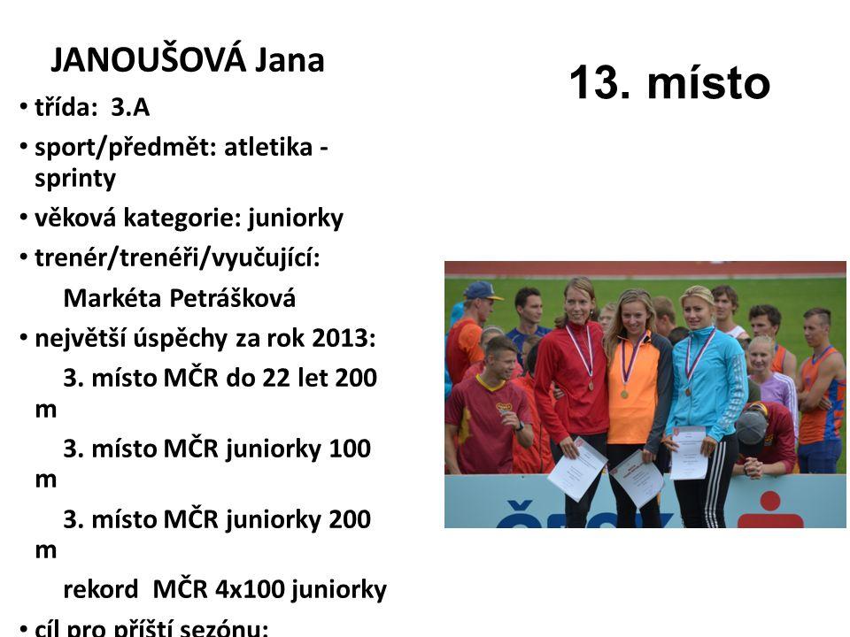 JANOUŠOVÁ Jana třída: 3.A sport/předmět: atletika - sprinty věková kategorie: juniorky trenér/trenéři/vyučující: Markéta Petrášková největší úspěchy za rok 2013: 3.