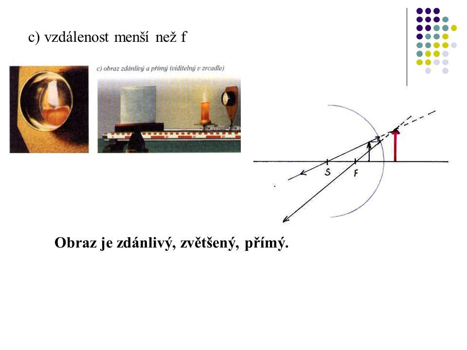 b) vzdálenost mezi 2f a f Obraz je skutečný, zvětšený, převrácený.