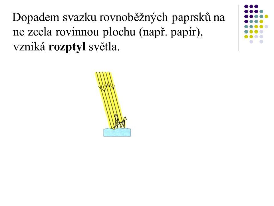 Dopadem svazku rovnoběžných paprsků na ne zcela rovinnou plochu (např.