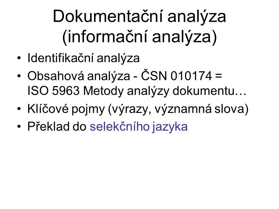 Dokumentační analýza (informační analýza) Identifikační analýza Obsahová analýza - ČSN 010174 = ISO 5963 Metody analýzy dokumentu… Klíčové pojmy (výra