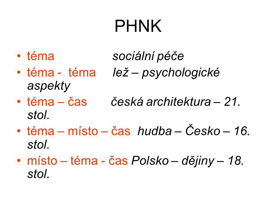 PHNK téma sociální péče téma - téma lež – psychologické aspekty téma – čas česká architektura – 21. stol. téma – místo – čas hudba – Česko – 16. stol.
