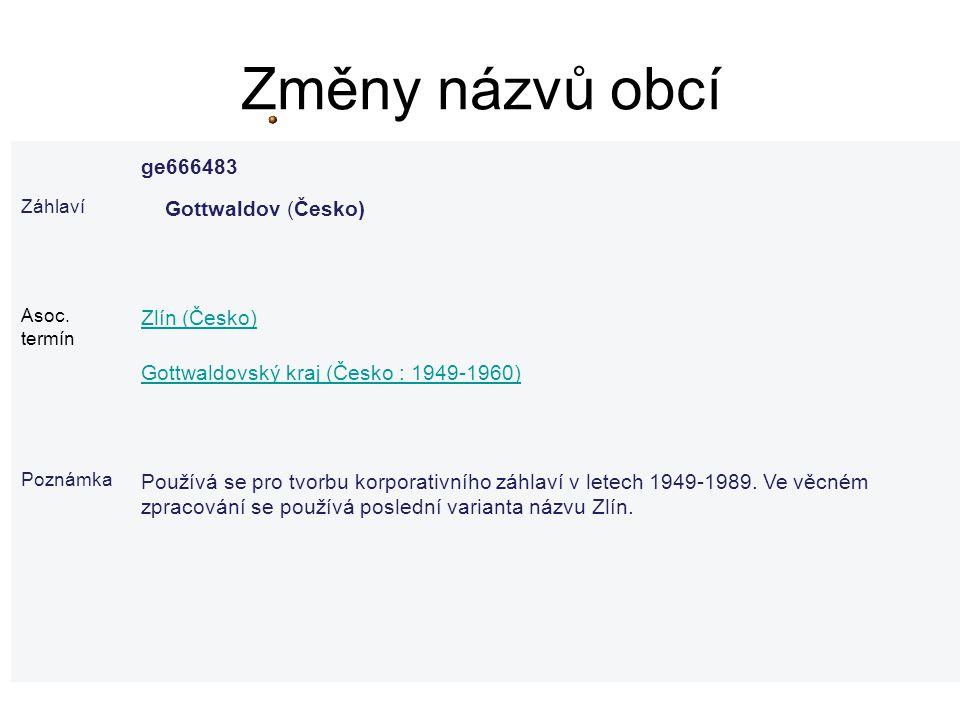 Změny názvů obcí ge666483 Záhlaví Gottwaldov (Česko) Asoc. termín Zlín (Česko) Gottwaldovský kraj (Česko : 1949-1960) Poznámka Používá se pro tvorbu k