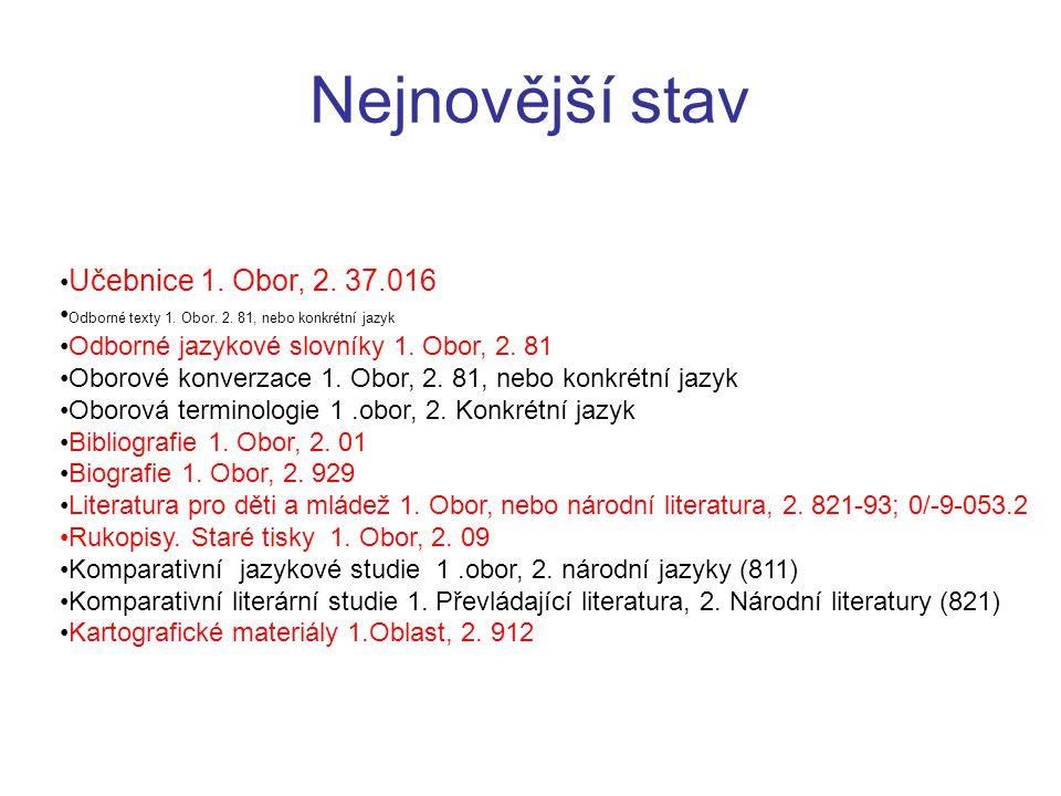 Učebnice 1. Obor, 2. 37.016 Odborné texty 1. Obor. 2. 81, nebo konkrétní jazyk Odborné jazykové slovníky 1. Obor, 2. 81 Oborové konverzace 1. Obor, 2.