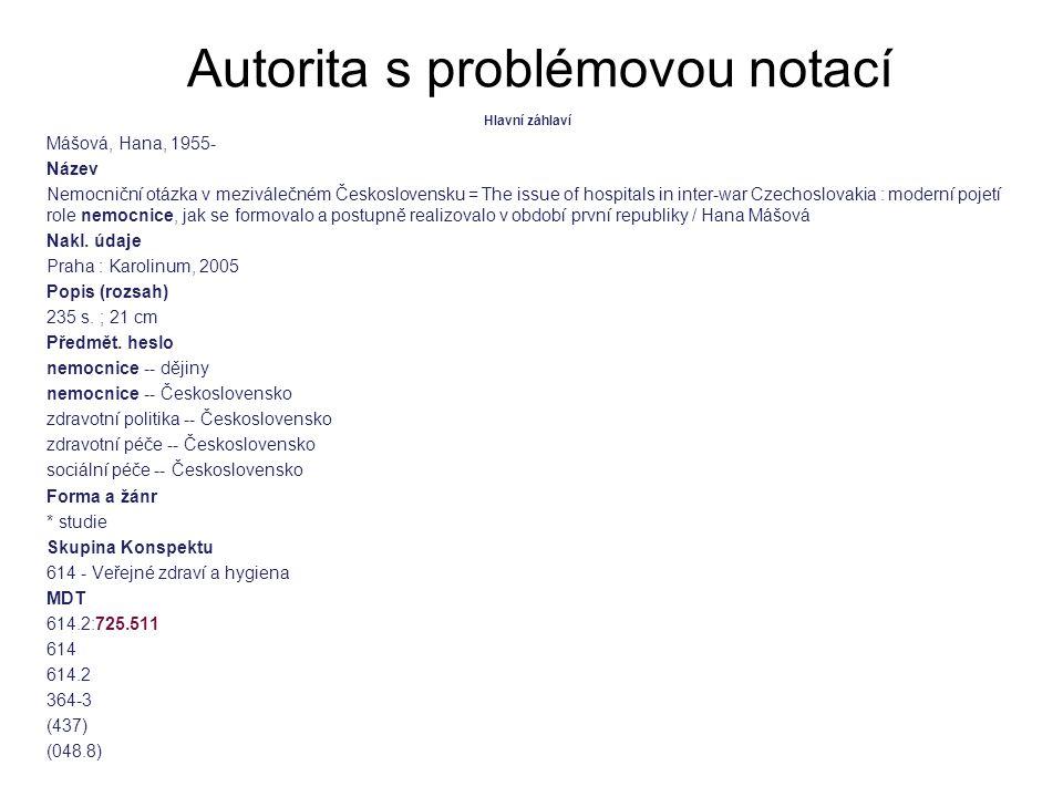 Autorita s problémovou notací Hlavní záhlaví Mášová, Hana, 1955- Název Nemocniční otázka v meziválečném Československu = The issue of hospitals in int