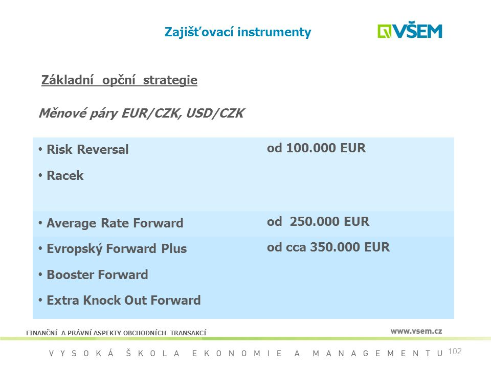 102 Zajišťovací instrumenty Risk Reversal od 100.000 EUR Racek Average Rate Forward od 250.000 EUR Evropský Forward Plus od cca 350.000 EUR Booster Fo