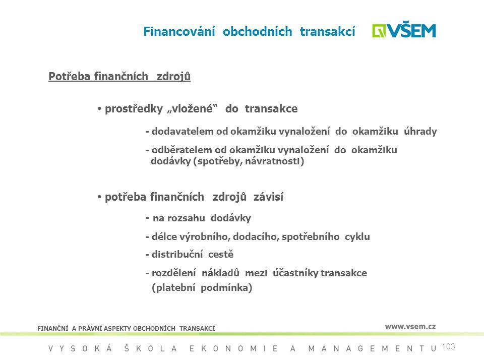 """103 Financování obchodních transakcí Potřeba finančních zdrojů  prostředky """"vložené"""" do transakce - dodavatelem od okamžiku vynaložení do okamžiku úh"""