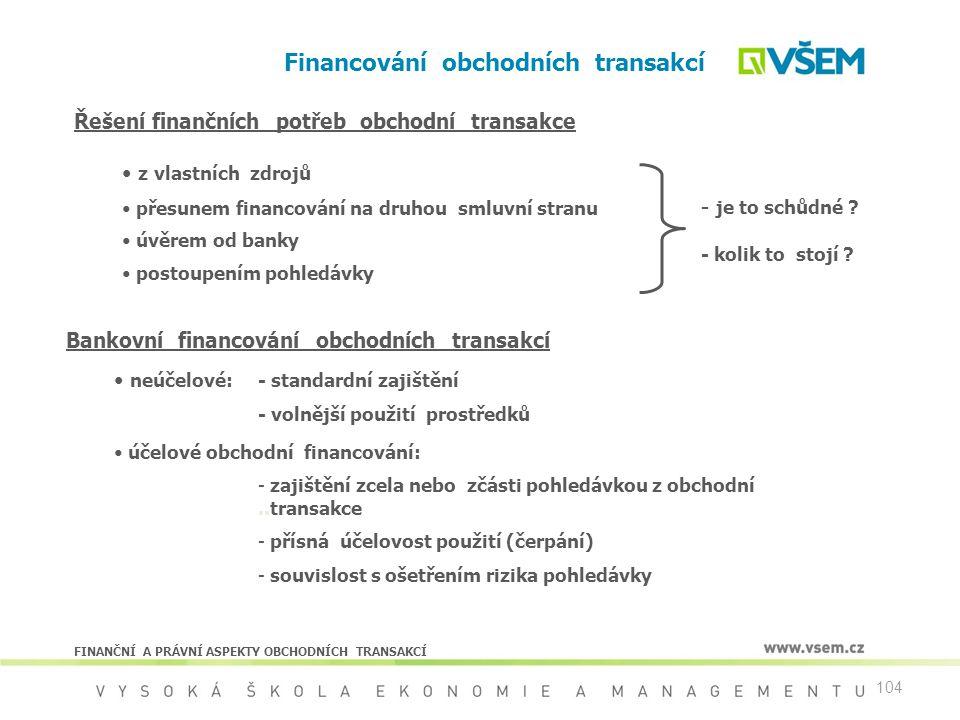104 Financování obchodních transakcí FINANČNÍ A PRÁVNÍ ASPEKTY OBCHODNÍCH TRANSAKCÍ Řešení finančních potřeb obchodní transakce z vlastních zdrojů pře