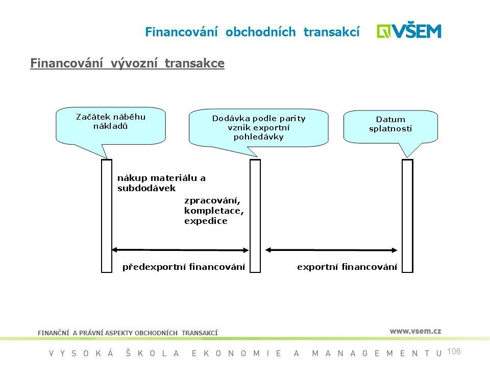 106 Financování obchodních transakcí FINANČNÍ A PRÁVNÍ ASPEKTY OBCHODNÍCH TRANSAKCÍ Financování vývozní transakce
