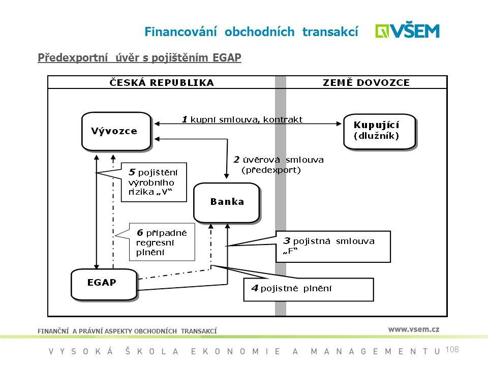 108 Financování obchodních transakcí FINANČNÍ A PRÁVNÍ ASPEKTY OBCHODNÍCH TRANSAKCÍ Předexportní úvěr s pojištěním EGAP
