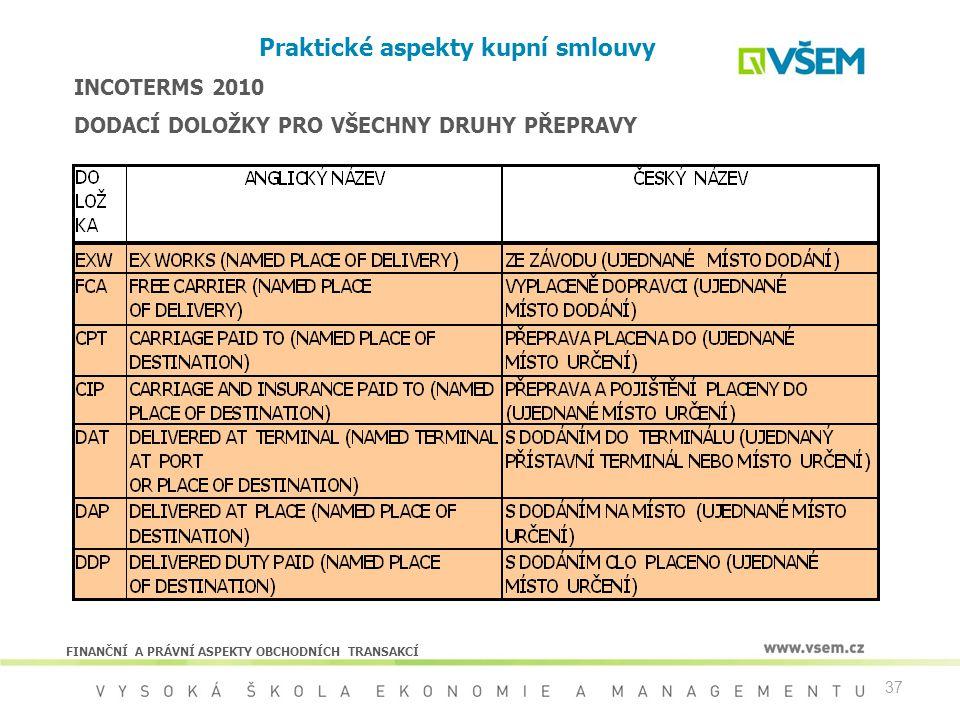 37 Praktické aspekty kupní smlouvy INCOTERMS 2010 DODACÍ DOLOŽKY PRO VŠECHNY DRUHY PŘEPRAVY FINANČNÍ A PRÁVNÍ ASPEKTY OBCHODNÍCH TRANSAKCÍ
