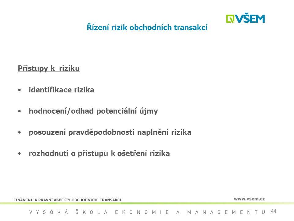44 Řízení rizik obchodních transakcí Přístupy k riziku identifikace rizika hodnocení/odhad potenciální újmy posouzení pravděpodobnosti naplnění rizika