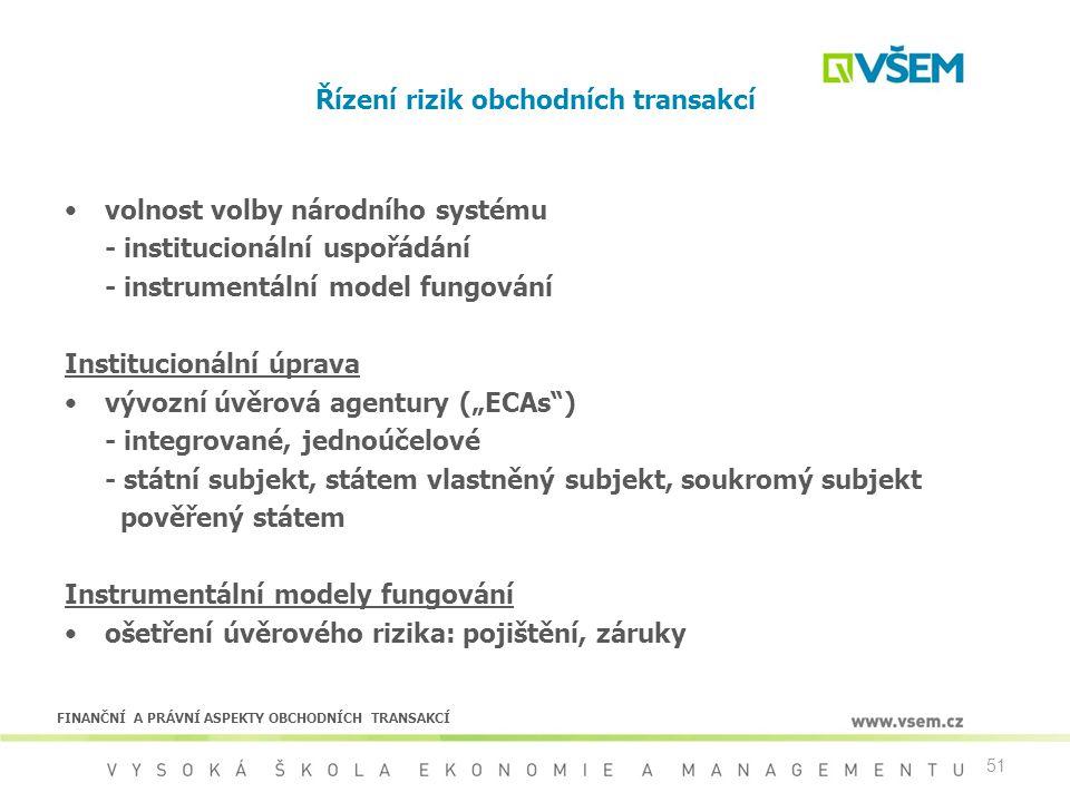 51 Řízení rizik obchodních transakcí volnost volby národního systému - institucionální uspořádání - instrumentální model fungování Institucionální úpr