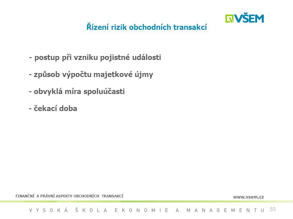 53 Řízení rizik obchodních transakcí - postup při vzniku pojistné události - způsob výpočtu majetkové újmy - obvyklá míra spoluúčasti - čekací doba FI