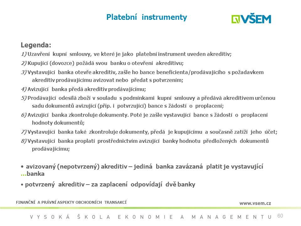 60 Platební instrumenty Legenda: 1) Uzavření kupní smlouvy, ve které je jako platební instrument uveden akreditiv; 2) Kupující (dovozce) požádá svou b