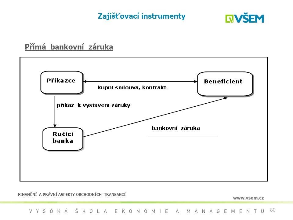 80 Zajišťovací instrumenty Přímá bankovní záruka FINANČNÍ A PRÁVNÍ ASPEKTY OBCHODNÍCH TRANSAKCÍ