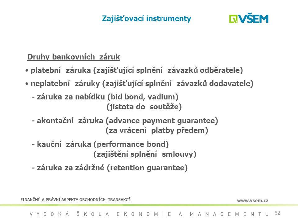 82 Zajišťovací instrumenty Druhy bankovních záruk platební záruka (zajišťující splnění závazků odběratele) neplatební záruky (zajišťující splnění záva