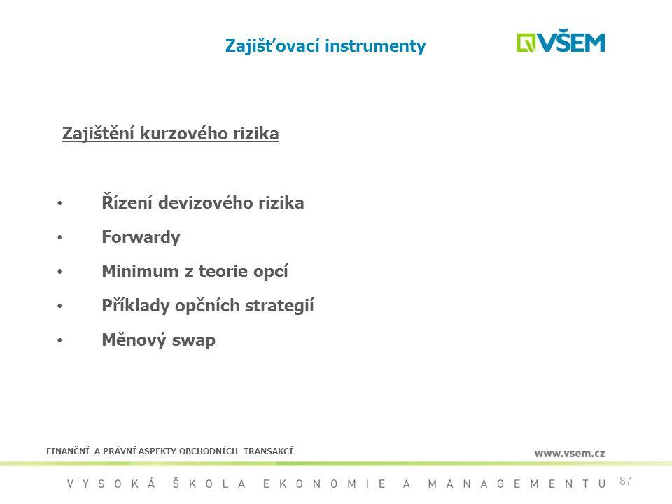 87 Zajišťovací instrumenty Řízení devizového rizika Forwardy Minimum z teorie opcí Příklady opčních strategií Měnový swap Zajištění kurzového rizika F