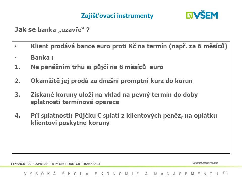 92 Zajišťovací instrumenty Klient prodává bance euro proti Kč na termín (např. za 6 měsíců) Banka : 1.Na peněžním trhu si půjčí na 6 měsíců euro 2.Oka