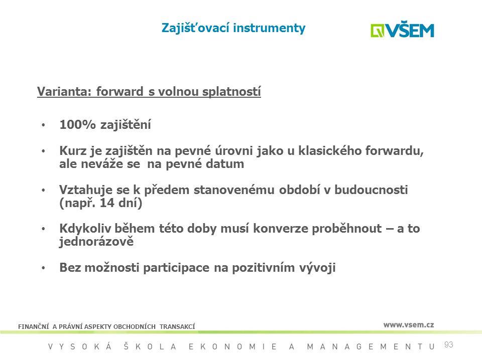 93 Zajišťovací instrumenty 100% zajištění Kurz je zajištěn na pevné úrovni jako u klasického forwardu, ale neváže se na pevné datum Vztahuje se k před
