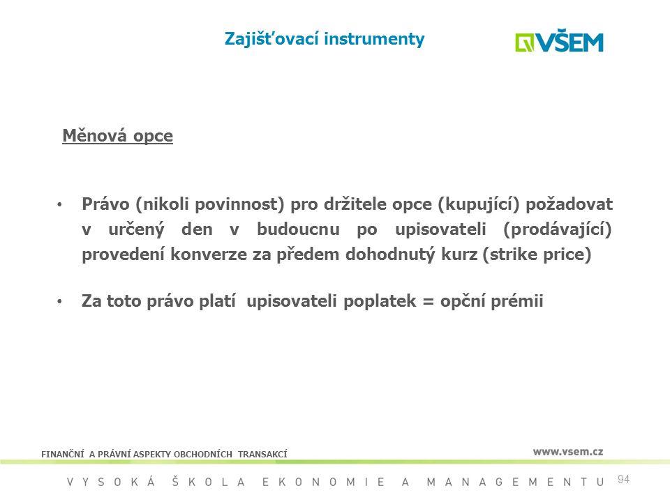 94 Zajišťovací instrumenty Právo (nikoli povinnost) pro držitele opce (kupující) požadovat v určený den v budoucnu po upisovateli (prodávající) proved